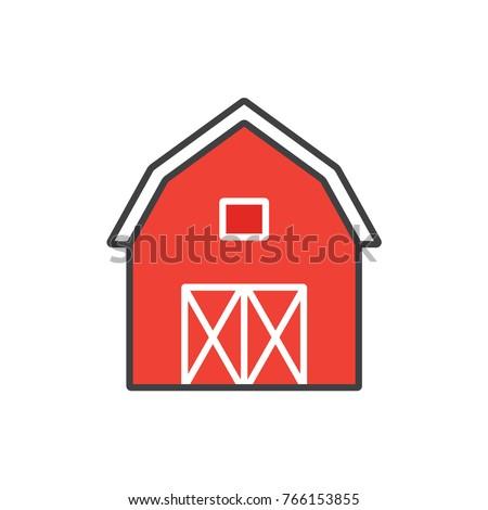 farm barn clip art. Farm Barn Colored Flat Line Icon. Clip Art