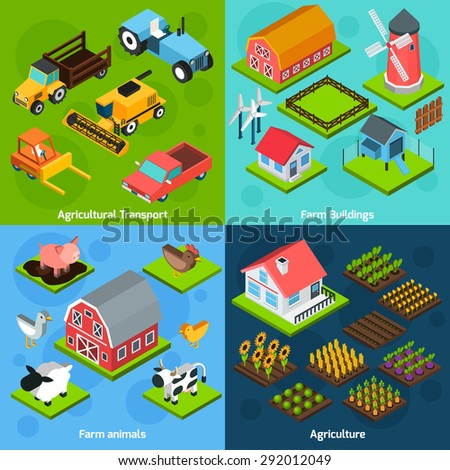 Farm buildings and  agriculture transport machinery facilities 4 isometric square icons composition set abstract isolated  vector illustration - stock vector