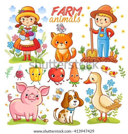 Farm cartoon set with farm animals, vegetables and characters. Boy, girl, pig, goose, cat, dog, carrot, apple, radish, pepper isolated on white background. Vector illustration. - stock vector
