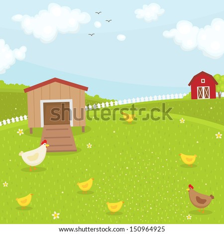 Farm chicken coop. Summer time - stock vector