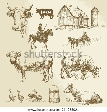 farm, cow, agriculture - hand drawn collection - stock vector