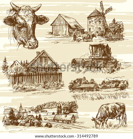 Farm, cows, harvest, rural landscape - hand drawn set - stock vector