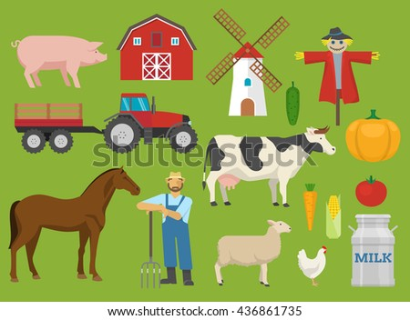 Farm decorative flat icons set with barn tractor mill animals worker on green background isolated vector illustration