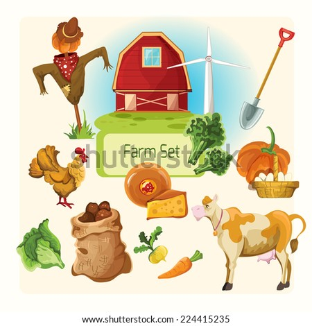 Farm decorative icons set with cow chicken house shovel isolated vector illustration - stock vector