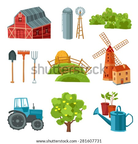 Farm decorative multicolored set with barn tractor windmill haystack silo tower tree bushes watering can spade rake pitchfork isolated vector illustration - stock vector