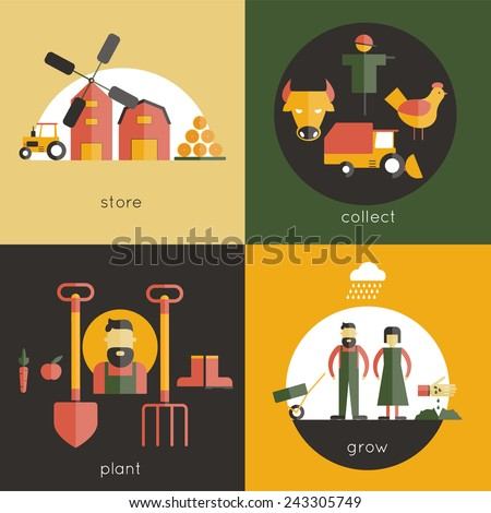 Farm design concept set with store collect plant grow flat icons isolated vector illustration - stock vector