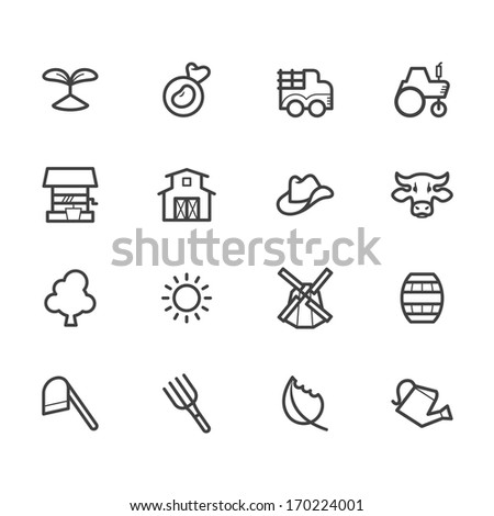 farm element black icon set on white background - stock vector