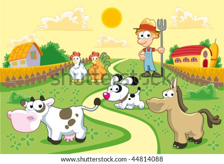 Farm Family with background. Funny cartoon and vector illustration. - stock vector