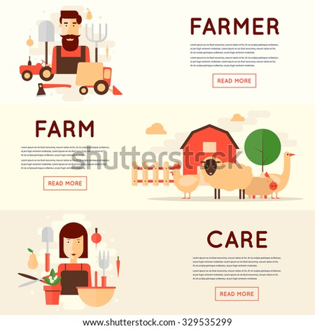 Farm. Farmer's family. Farmer and equipment, farm animals, the woman with fruits and vegetables. Harvesting, agriculture. 3 banners. Flat design vector illustration. - stock vector