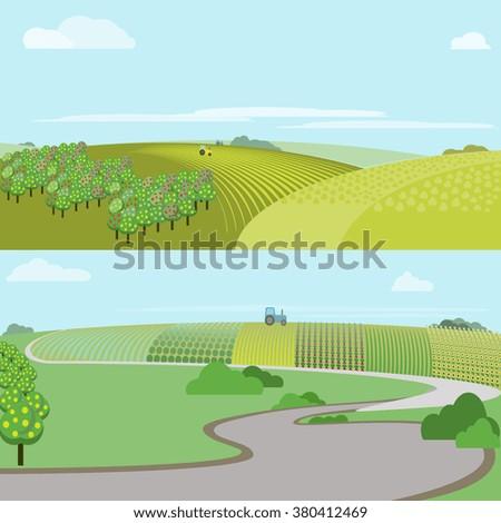 Farm field. Farm landscape. Farmland. Garden. Farm field vector illustration. Meadow. Farm field in cartoon style. Green farm field. Rural landscape. Rolling hills. Fruit tree. Agriculture concept.  - stock vector