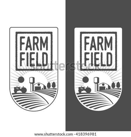 Farm field labels set of vector logos farming, field with a barn, land and trees, badges with fields farm badges isolated on white and black background - stock vector
