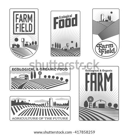Farm field labels set of vector logos farming, yellow field with a barn, land and trees, badges with fields fermpeskie yellow badges isolated on white background - stock vector