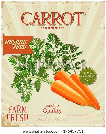 Farm fresh Carrot poster design in vintage style. Vector illustration. - stock vector