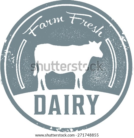 Farm Fresh Dairy Stamp - stock vector