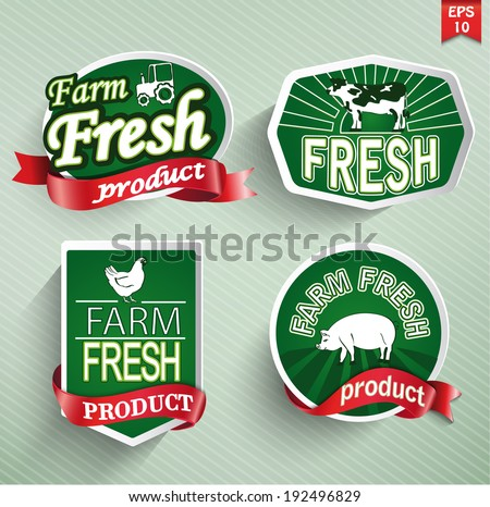 Farm fresh food label, badge or seal. Vector. - stock vector