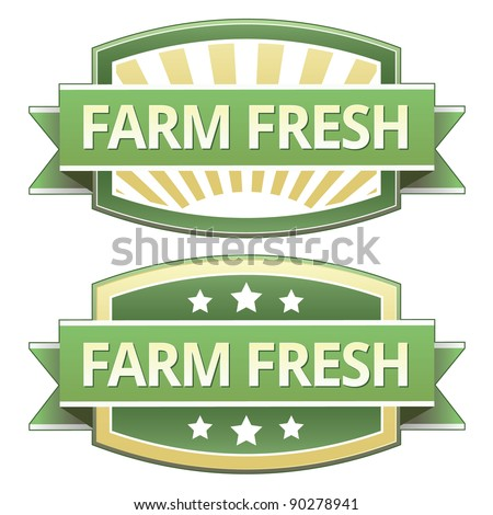 Farm fresh food label, badge or seal with green and yellow color in vector