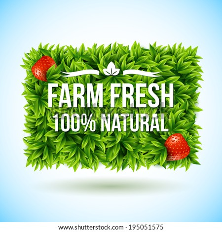 Farm fresh label made of leaves. Vector illustration. - stock vector