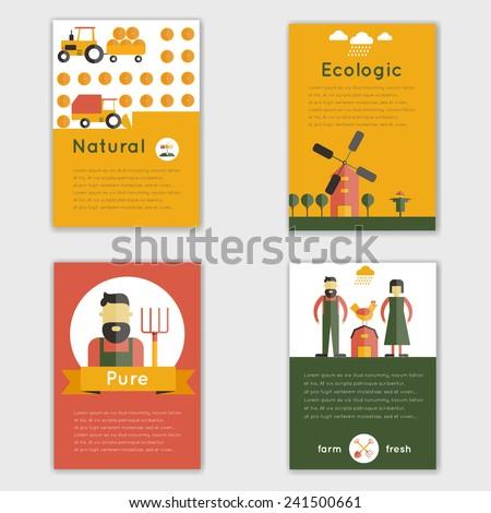 Farm fresh natural ecologic livestock animals brochure set isolated vector illustration - stock vector