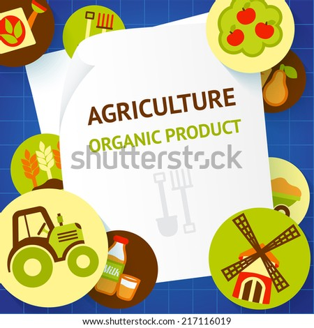 Farm fresh natural products organic agriculture food background template vector illustration - stock vector