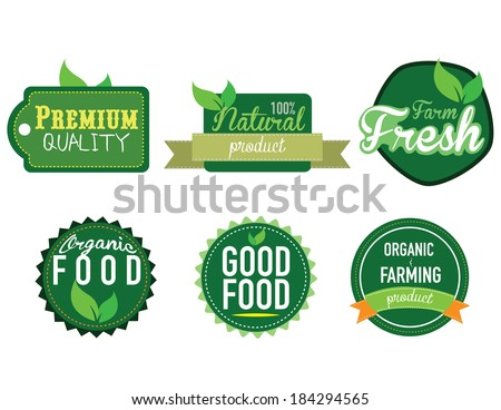 farm fresh, organic food label, badge or seal. vector illustration  - stock vector