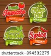 Farm fresh, organic food label - olive oil, tomato, spice, badges or seals on the wooden background, vector illustration.