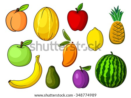 Farm fresh red and green apples, peach, avocado, yellow banana, pineapple, watermelon, lemon, orange mango, melon and purple plum fruits. For agriculture and food themes
