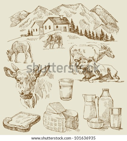 farm - hand drawn set - stock vector