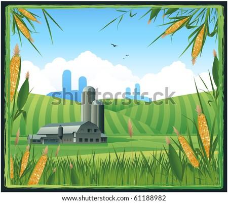 Farm harvest background - stock vector
