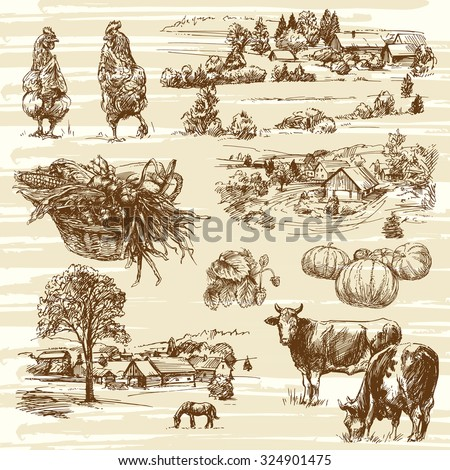 farm, harvest, rural landscape - hand drawn set - stock vector