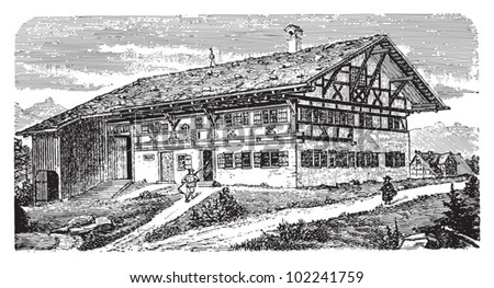 Farm house Allgau (Southern Germany) / vintage illustration from Brockhaus Konversations-Lexikon 1908 - stock vector