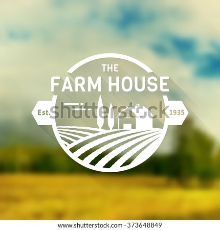 Farm House concept logo. Logo template with farm landscape on blurred background. Retro label for natural farm products. White logotype in flat style. Vector illustration. - stock vector