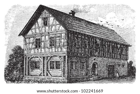 Farm house Frankish / vintage illustration from Brockhaus Konversations-Lexikon 1908 - stock vector