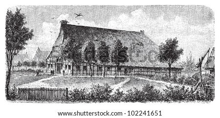 Farm house Holstein (Northern Germany) / vintage illustration from Brockhaus Konversations-Lexikon 1908 - stock vector
