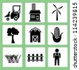 farm icon set, agriculture - stock photo