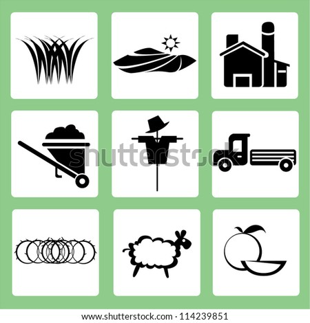 farm icon set, agriculture - stock vector