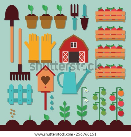 farm icon set - how to grow tomatoes - garden tools - stock vector