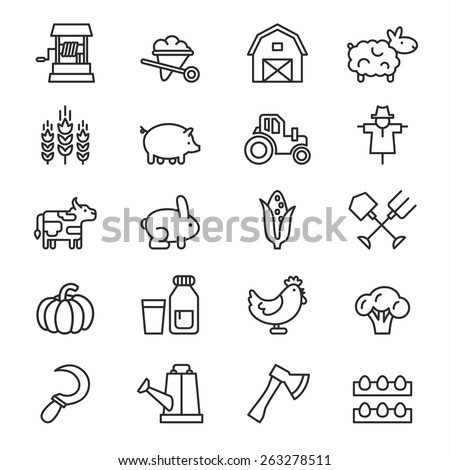 Farm icon vector - stock vector