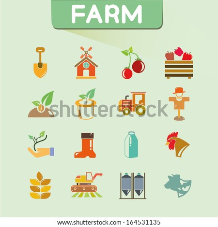 farm icons set, color icons, vector - stock vector