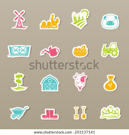 farm Icons set vector - stock vector