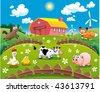 Farm illustration. Funny cartoon and vector scene. - stock vector