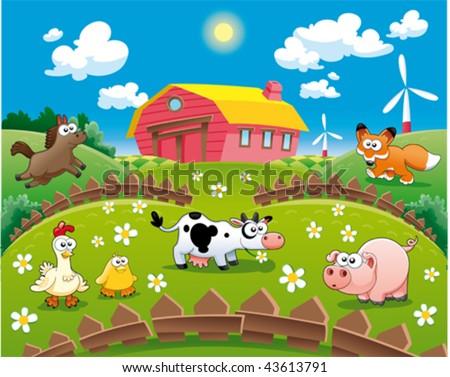 Farm illustration. Funny cartoon and vector scene. - stock vector