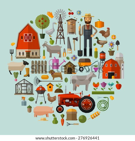 farm in the village. A set of elements - house, barn, animals, tractor, flowers, fruits and vegetables - stock vector