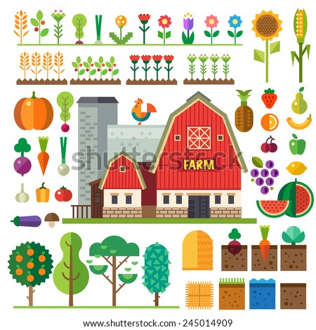Farm in village. Elements for game: sprites and tile sets. Beds, trees, flowers, vegetables, fruits, hay, farm building. Vector flat  illustrations - stock vector