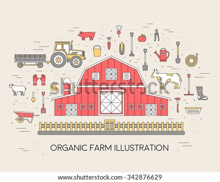 Farm in village set. Farm icon. Farm concept. Farm flat. Farm landscape. Farm logo. Farm items. Farm outline. Farm elements. Farm text. Farm time. Farm image. Farm thin line. Farm vector background - stock vector