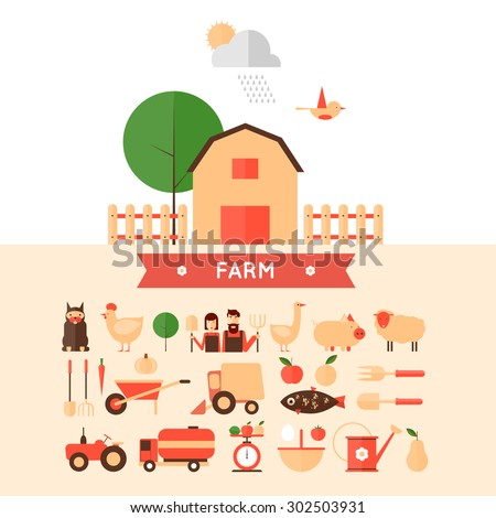 Farm in village set of icons. Harvesting, agriculture. Flat design vector illustration - stock vector