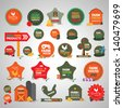 Farm Labels And Icons Set - Isolated On Gray Background - Vector illustration, Graphic Design Editable For Your Design. Lot Of Useful Elements. Farm Logo  - stock vector