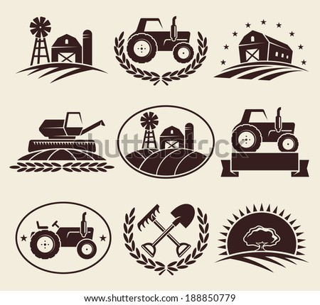 Farm labels set. Vector  - stock vector