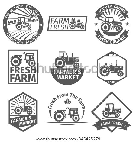 Farm labels with tractor. Natural organic, farming and agriculture, healthy vector illustration - stock vector