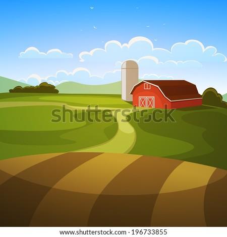 Farm Landscape - stock vector