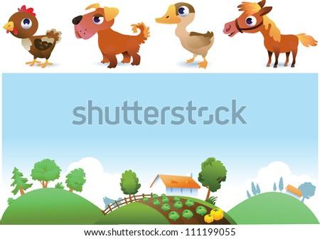 Farm landscape and animals - stock vector